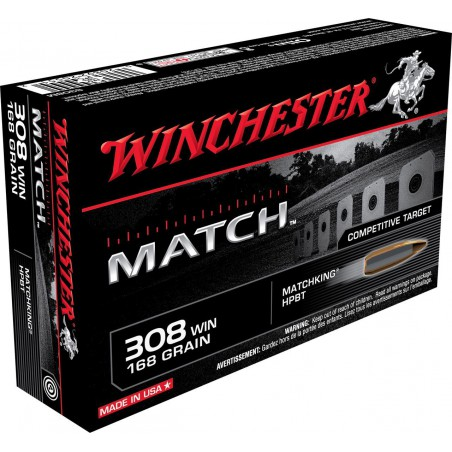 WINCHESTER, 308Win,  BOAT TAIL MATCH 10.89g/168grs (20szt.)
