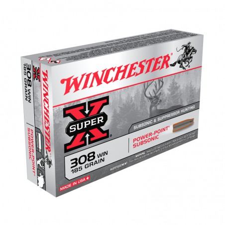WINCHESTER, 308Win, SUBSONIC, 12.00g/185grs (20szt.)